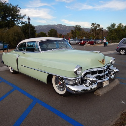 Vintage Cadillac parked at the Huntington Library and Gardens, January 7, 2015