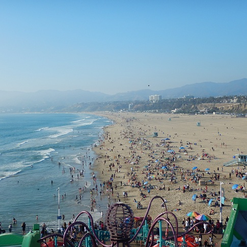 View looking towards Malibu from the top of the ferris wheel on the Santa Monica Pier, February 16, 2015