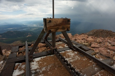 End of the cog railway on Pike's Peak in Colorado