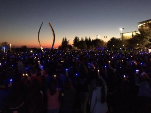 Photo of vigil at UC-Merced, November 6, 2015. Courtesy of Susan Amussen.