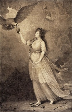 Edward Savage, Liberty in the Form of the Goddess of Youth Giving Support to the Bald Eagle, 1796.