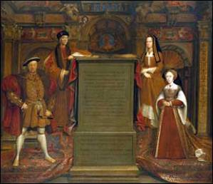 Henry VII and Henry VIII at left, Elizabeth of York and Jane Seymour, at right. Copy of the Holbein's Whitehall Mural, ca. 1667