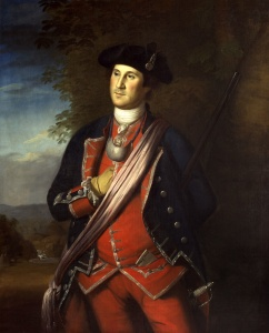 Oops: George Washington had neither daughters nor sons! (1772 portrait by Charles Willson Peale).
