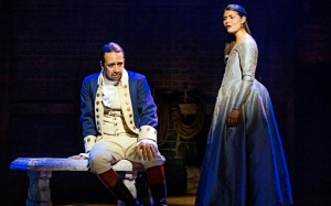 Lin-Manuel Miranda and Phillipa Soo as Alexander and Eliza Hamilton in Hamilton