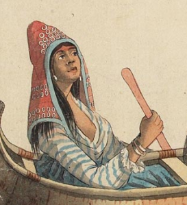 Wabanaki red woolen hood with blue ribbon trim and trade silver (detail from image below)