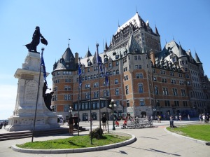 Samuel de Champlain presides over the Upper City of Quebec and the Chateau Frontenac